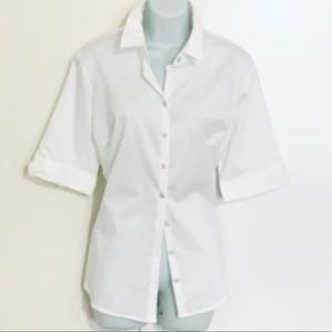 New York & Company White Button Down Shirt, Large